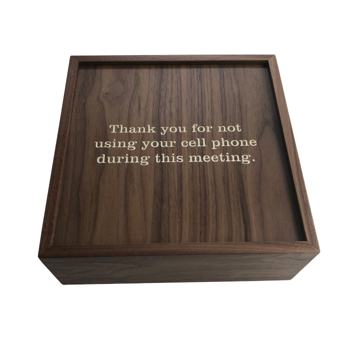 Cell Phone Storage Box – Customized for Legacy Healthcare – Walnut