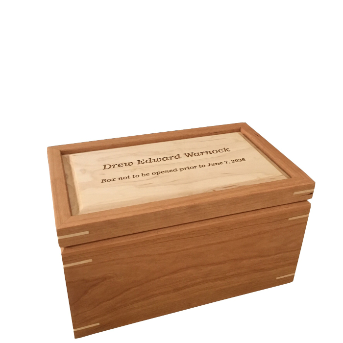 Regular Keepsake Box – Personalized with Do Not Open Until Future Date – Cherry and Hard Maple