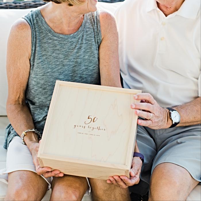 Hard Maple Storage Box with Sliding Lid – 50 Year Anniversary Box