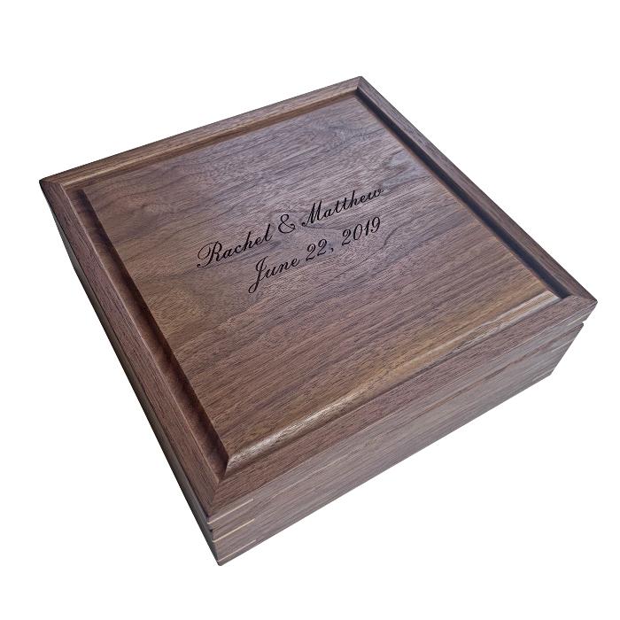 Square Keepsake Box – Personalized – Walnut with Hard Maple Corner Splines