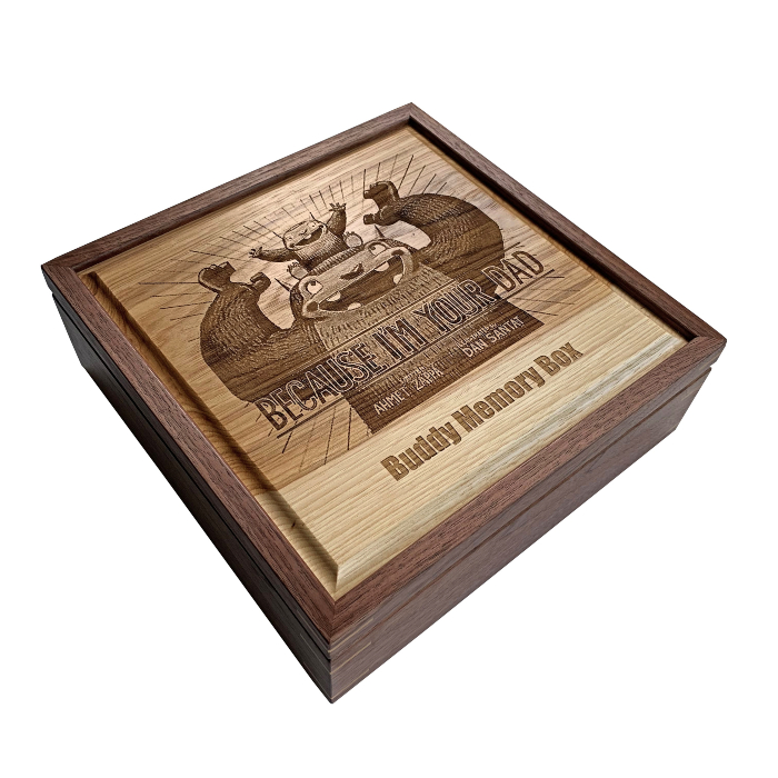 Square Keepsake Box – Personalized – Walnut with Hickory