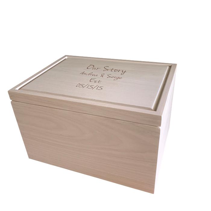 Legacy Extra Large Keepsake Box – Personalized – White Washed White Oak