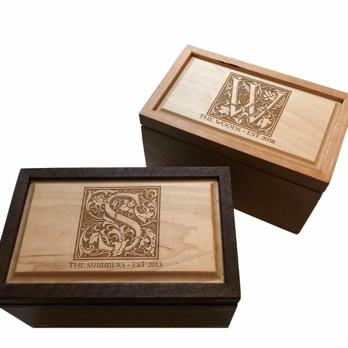 Regular Sized Keepsake Boxes – Personalized – Walnut and Cherry with Maple