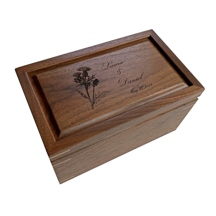 Keepsake Box – Personalized with Wedding Invite – Walnut with Maple Corners