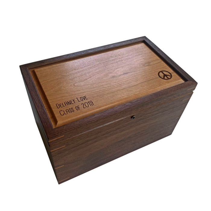 Large Keepsake Box with Lock – Personalized – Walnut with Cherry