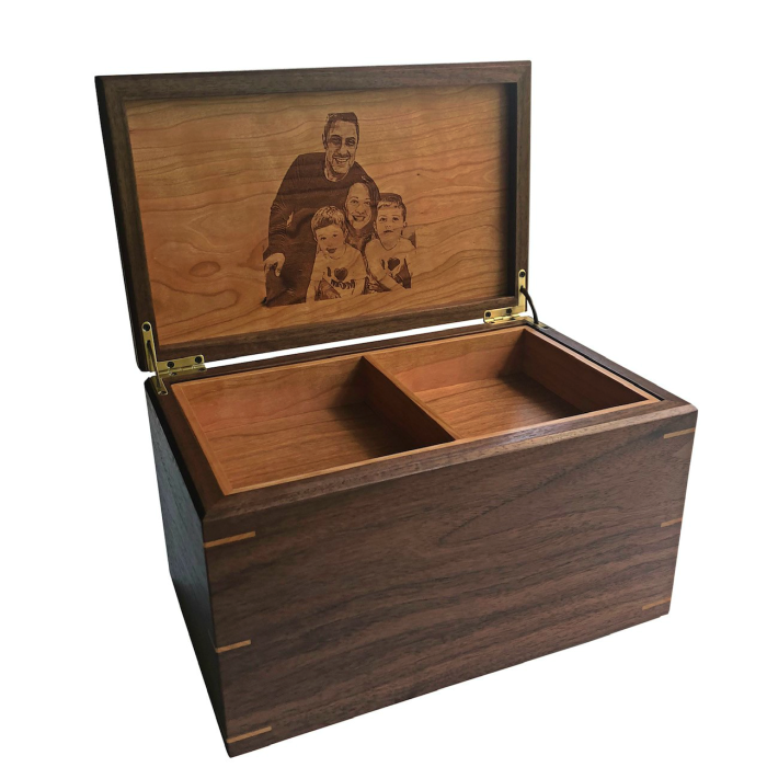 Large Keepsake Box – Personalized with Family Photo – Walnut with Cherry