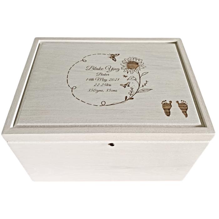 Legacy Whitewashed Oak Keepsake Box – Personalized