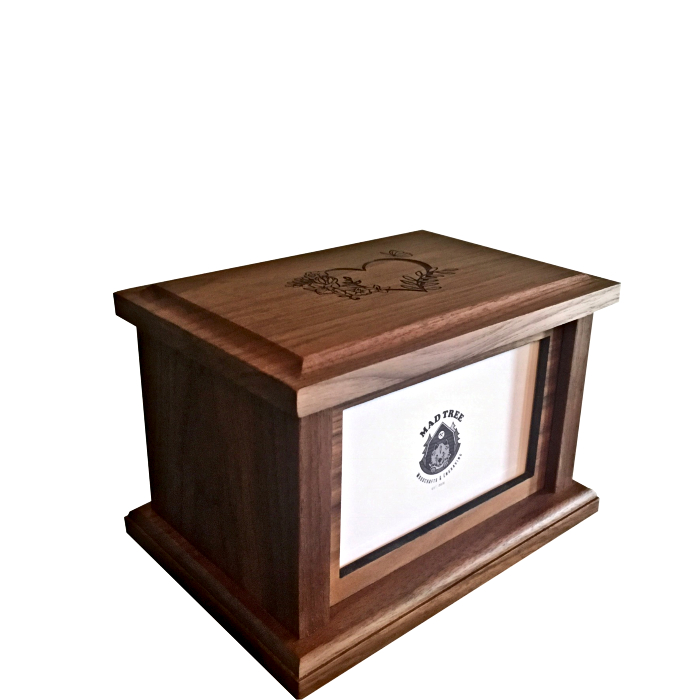 Regular Sized Walnut Pet Urn with Photo Slot
