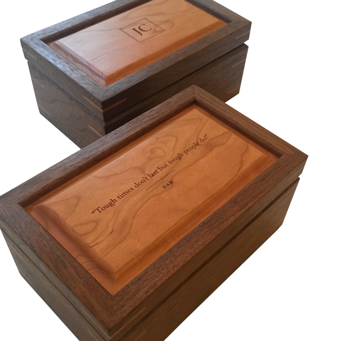 Small Size Keepsake Boxes Walnut with Cherry