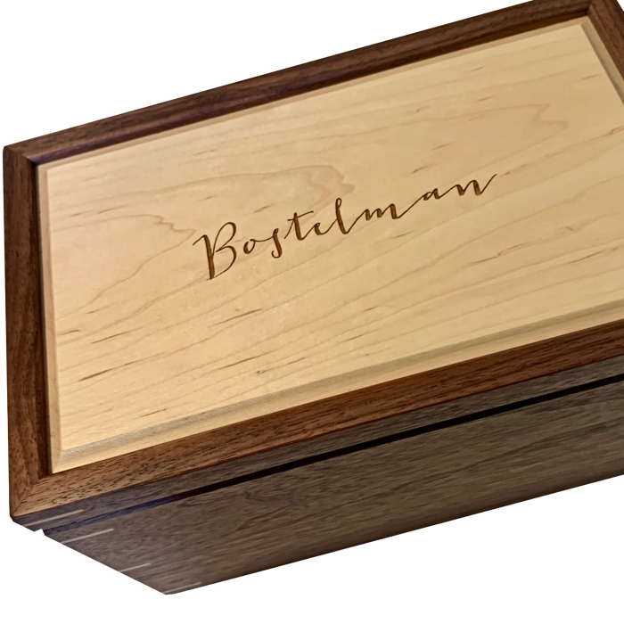 Walnut with Hard Maple Wood Engraved Family Name Keepsake Box