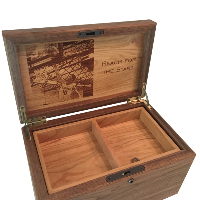 Walnut and Cherry Wood Keepsake Box with Engraved Photo