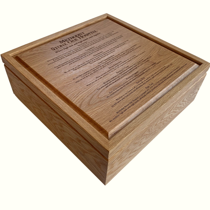 Square White Oak Keepsake Box – Engraved Hospital Mission Statement