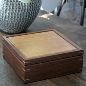 Square Walnut Cherry Keepsake Box