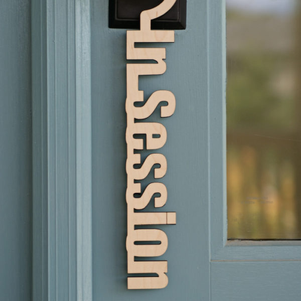 in session sign hanger