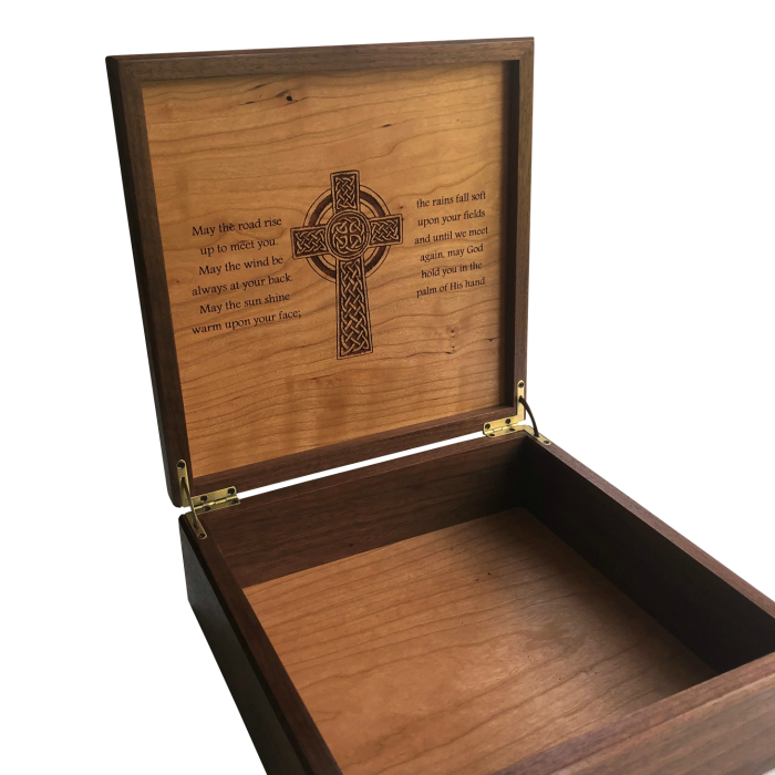 Square Keepsake Memory Box – Personalized – Walnut and Cherry