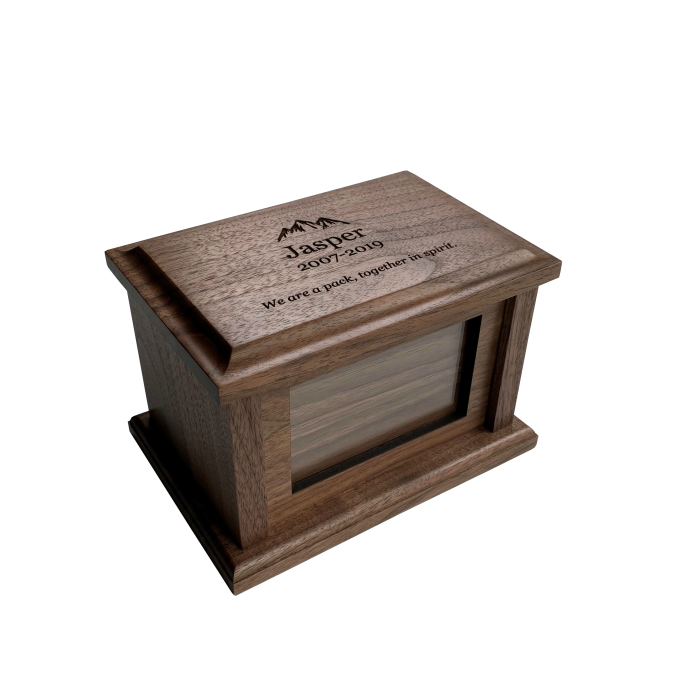 Wooden Pet Urn – Personalized – Walnut