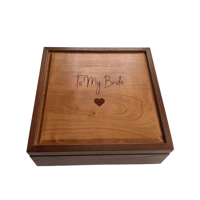 Square Keepsake Box – Personalized – Walnut with Cherry