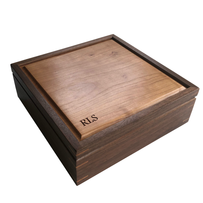 Square Memory Keepsake Box – Personalized – Walnut and Cherry