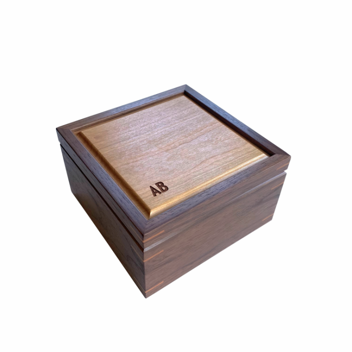 Small Square Keepsake Box -Personalized – Walnut and Cherry