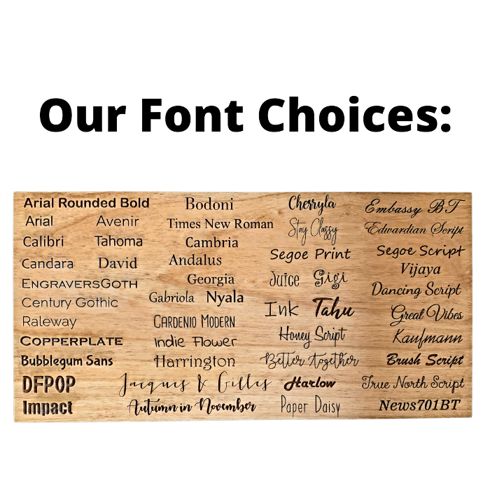 Mad Tree Woodcrafts Font Selection