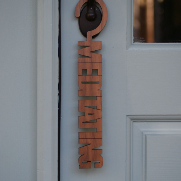 Meditating Privacy Please Door Hanger Sign